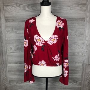 L.A. Hearts Red Floral Blouse Size Large
